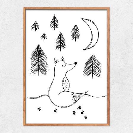 Autorský ilustrovaný plakát *NA MĚSÍC*, formát A3, bez rámu