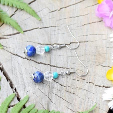 ~OCEAN~ Luxusní visací náušnice s lapisem lazuli a křišťálem, nerez ocel