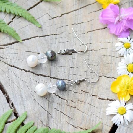 ~SÍLA~ Luxusní perlové náušnice s křišťálem, nerezová ocel