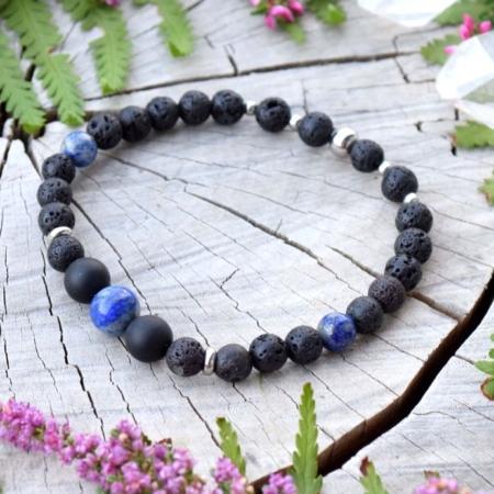 ~MÍR~ Pánský náramek z černého onyxu, lávového kamene a lapisu lazuli, nerez ocel