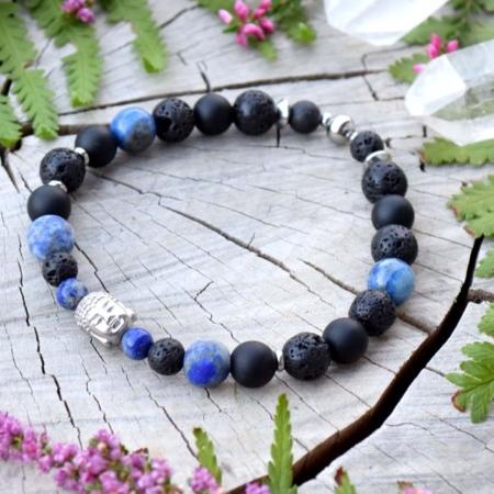 ~MÍR~ Pánský náramek z lapisu lazuli, lávového kamene a onyxu, Buddha, nerez ocel