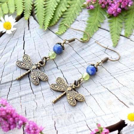 ~Z TAJEMNÉHO LESA~ Visací náušnice vážky s olivínem a lapisem lazuli