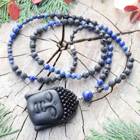 ~MÍR~ Ochranný náhrdelník s Buddhou z lávového kamene a lapisu lazuli, nerez ocel