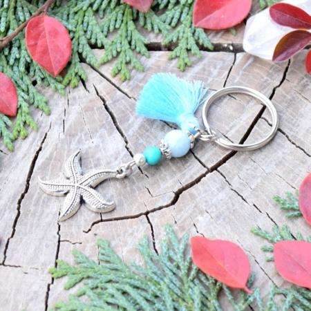~OCEAN~ Originální přívěsek na klíče hvězdice s akvamarínem a tyrkysem, střapeček