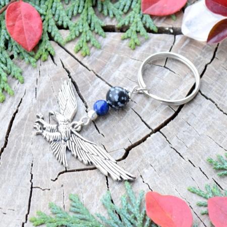 ~MÍR~ Originální přívěsek na klíče orel s lapisem lazuli a obsidiánem