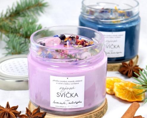 Přírodní sójová svíčka Mystická s vůní levandule a eukalyptu