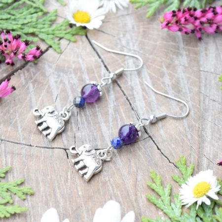 ~MAGIE~ Visací náušnice sloni s ametystem a lapisem lazuli, nerez ocel