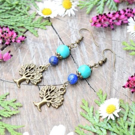 ~INSPIRACE~ Visací náušnice strom života s tyrkysem a lapisem lazuli
