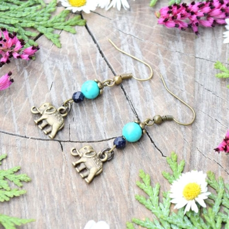 ~INSPIRACE~ Visací náušnice sloni s tyrkysem a modrým avanturínem