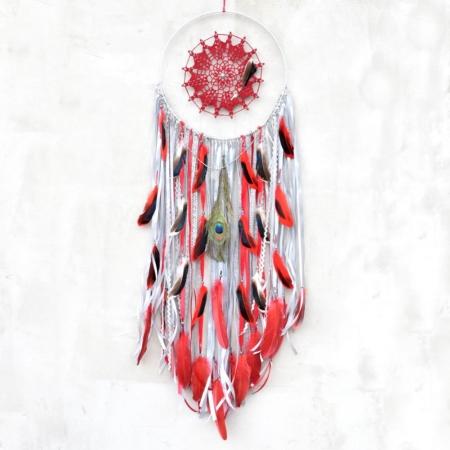 ~NEKONEČNÁ ENERGIE~ Velký ručně vyráběný lapač snů s poselstvím a minerálním kamenem jaspis, 30x105 cm