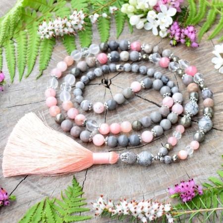 ~SNĚNÍ~ Jedinečná japa mala z jaspisu, morganitu, rodochrozitu a křišťálu, Buddha, 108 korálků