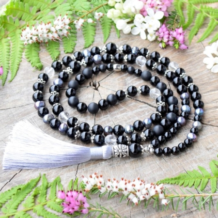 ~ELEMENT~ Jedinečná japa mala z pravých perel, onyxu a broušeného křišťálu, 108 korálků