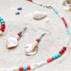 ~VE VLNÁCH TANČÍM~ Unikátní autorské náušnice z pravých perel, perleti a minerálních kamenů, nerez ocel