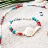 ~VE VLNÁCH TANČÍM~ Unikátní autorský náramek z pravých perel, ručně sbíraných mušlí a minerálních kamenů, nerez ocel
