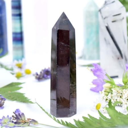 Přírodní minerální kámen - broušený hrot ze záhnědy, 8x2 cm