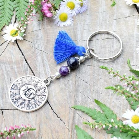 ~MAGIE~ Originální přívěsek na klíče zvěrokruh s ametystem a avanturínem, střapeček