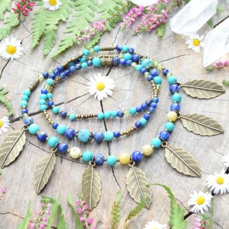 ~Z TAJEMNÉHO LESA~ Jedinečný boho náhrdelník s listy, lapisem lazuli, olivínem a vzácným ruským amazonitem