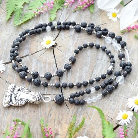 ~SÍLA~ Jedinečný náhrdelník s Buddhou, lávovým kamenem a křišťálem