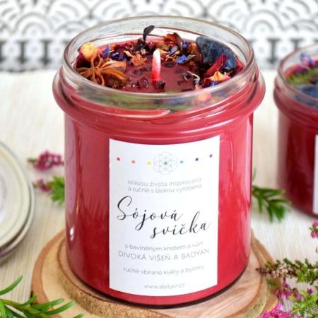 ~ŽIVOTNÍ ENERGIE~ Přírodní sójová svíčka zdobená minerály • divoká višeň a badyán, 350 ml
