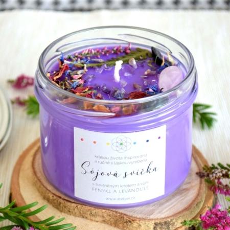 ~MYSTICKÁ~ Přírodní sójová svíčka zdobená minerály • fenykl a levandule, 225 ml