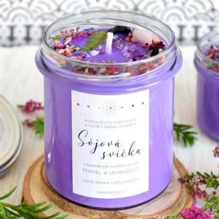 ~MYSTICKÁ~ Přírodní sójová svíčka zdobená minerály • fenykl a levandule, 350 ml