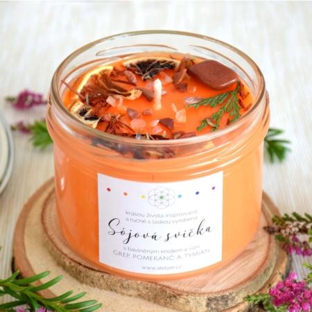 ~OPTIMISMUS~ Přírodní sójová svíčka zdobená minerály • grep, pomeranč a tymián, 225 ml