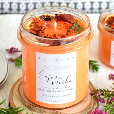 ~OPTIMISMUS~ Přírodní sójová svíčka zdobená minerály • grep, pomeranč a tymián, 350 ml