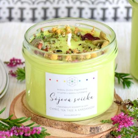 ~DARY ŽIVOTA~ Přírodní sójová svíčka zdobená minerály • cypřiš, tea tree a kardamom, 225 ml