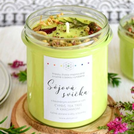 ~DARY ŽIVOTA~ Přírodní sójová svíčka zdobená minerály • cypřiš, tea tree a kardamom, 350 ml